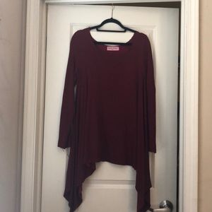 Maroon long sleeve sweater top